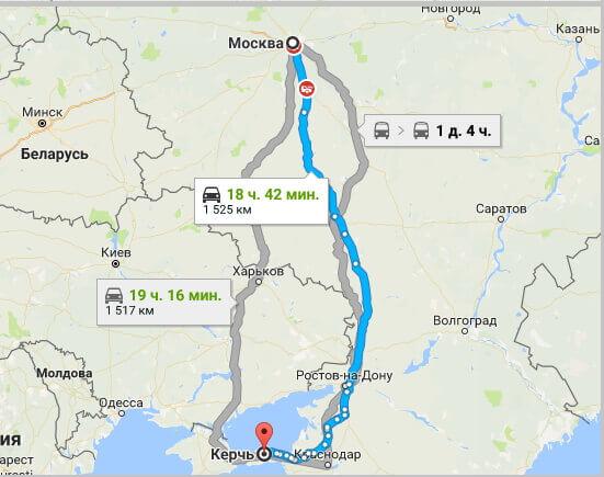 Дорога в Крым из москвы на карте