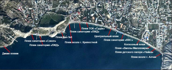 Пляжи Судака на карте Крыма